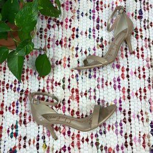 Sam Edelman Tan Patent Leather Ankle Strap Heel